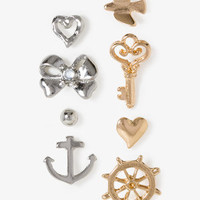 Anchor & Key Charm Stud Set
