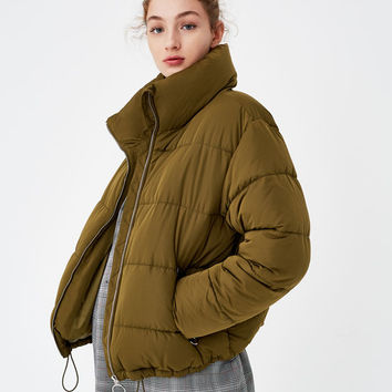 Quilted jacket with funnel collar - Coats and jackets - Clothing - Woman - PULL&BEAR France