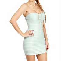 Mint Floral Strapless Embossed Dress