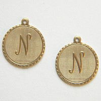 Raw Brass Letter N Charm Monogram Initial Drop 20m x 22mm - 4 pcs.  (r269)