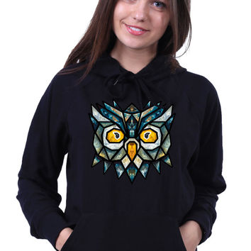 Geometric Owl Head Print Colorful Triangle Art Bird Animal Sweatshirt Hoodie Jumper