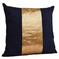 Amore Beaute Handcrafted Throw pillows- Navy Blue gold color block in art silk with sequin bead detail cushion covers- sequin pillow covers- 16 x 16 Navy blue pillow cover - Gold sequin pillows