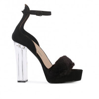 Fancy Faux Fur Platform Lucite Heels Black