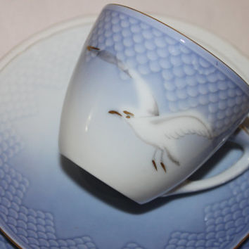 Vintage B and G Bing & Grondahl Tea Cup Trio Denmark Sea Gull Tea Cup Saucer Bread/Cake Plate - Tea Party Blue Teacup