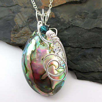 Sterling Silver Abalone Necklace, Wire Wrapped, Abalone Shell Pendant, Silver Shell Jewelry, Natural Sea Shell Necklace