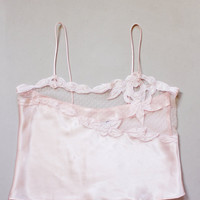 Vintage Pink Satin Camisole with See Through Lace Trim - Size Large