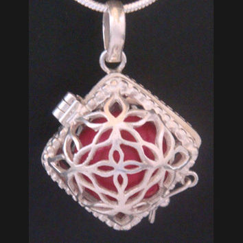 Harmony Ball, Bola Necklace, with a Red Chime Ball in Diamond shape 925 Sterling Silver Cage, Baby Shower Pregnancy Gift , Angel Caller 361