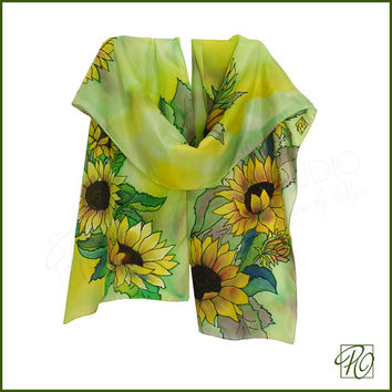 Luxury Silk Scarf Sunflowers - Woman Scarf Green Yellow Brown Hand Painted Wearable Art.