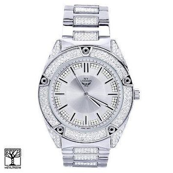 Jewelry Kay style Luxury Fashion Iced Out Silver Plated CZ Metal Band Men's Watches WM 1558 S
