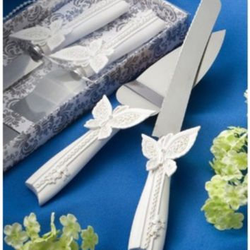 Brand New Wedding Cake Resin Handle Knife and Sever Serving Set