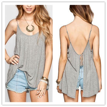 Fashion Casual Large Size Female Back Hollow Split Low Chest V-Neck Sleeveless Strap Loose Small Vest Pajamas