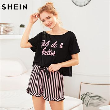 SHEIN Letter Print Short Sleeve Top and Striped Shorts Pajama Set Ladies Summer Sleep Wears Womens Casual Pajama Sets