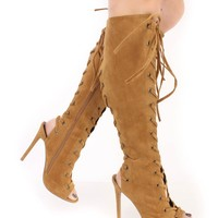 Chestnut Lace Up Peep Toe Knee High Heel Boots