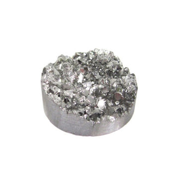 Druzy Cabochon Silver Metallic 30mm Round, Wire Wrapping Jewelry Making Supply, Drusy, Agate, 1 Stone, Crystal, Shine (Lot. C15)
