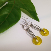 Wirework Dangle Earrings / Handcrafted Fused Glass Beads / Handmade Jewelry / Golden Yellow or Rainbow / Donut Shaped Beads / Geometric