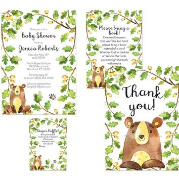 Forest Bear Baby Shower Invitations