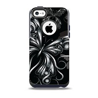 The Vibrant Black & Silver Butterfly Outline Skin for the iPhone 5c OtterBox Commuter Case