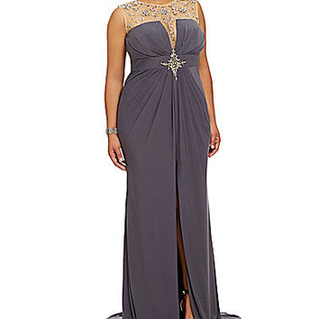 Mac Duggal Plus Beaded Illusion Gown - Charcoal