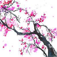 The Promise of Spring, Original watercolor Chinese brush painting by Jessica Durrant