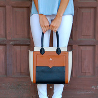 Stay Structured Tote With Strap- Brown