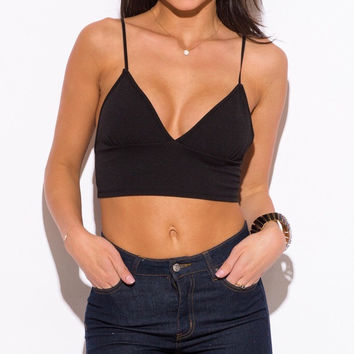 V-Neck Bralette Crop Top in Black