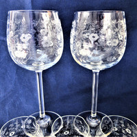 Crystal Stemware Glasses Champagne Wine Queens Lace set of 7 Bar to Dining Vintage blm