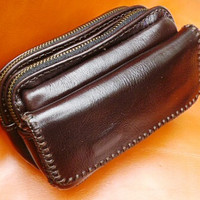 Black 3 pocket pouch waist bag mans