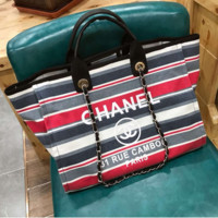 Chanel's latest Ramie Cotton Striped shopping bag beach bag