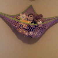 Purple and Green Stuffed Animal Net / toy hammock (corner, boy, crochet, handmade, ribbon, grommet, eyelet, strong, large)