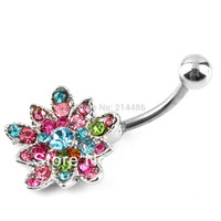 Stainless Rhinestone Flower Crystal Belly Navel Button Bar Ring Piercing