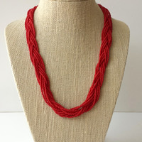 Red necklace, burgundy necklace, bright red necklace, bridesmaid necklace, beaded necklace, red wedding, red seed bead