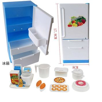 Doll House Furniture Refrigerator Play Set Doll Sweet Blue White Fridge Freezer With Food Lots Of Pieces & Box For Barbie