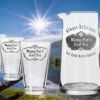 Custom Engraved Pitcher & Glasses Set - Personalize w/ Your Text or Names - Choose a Size!