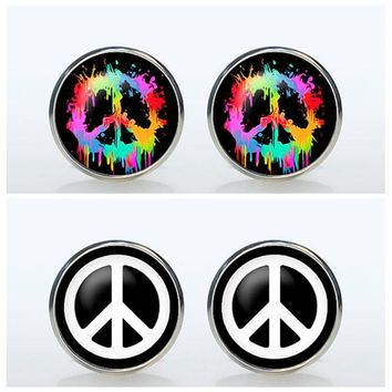 HIpster Peace Sign Symbol Brand Cuff  Mens Wedding Groom Sleeve Button High Quality Vintage Silver Plated Shirt Cufflinks