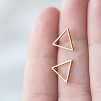 Open Triangle Post Earrings in Brass and Sterling Silver
