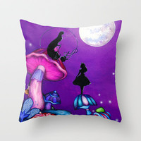 Alice in Wonderland and Caterpillar Throw Pillow by Annya Kai
