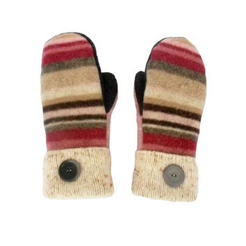 Pink and Brown Mittens - Sweater Mittens, Wool Mittens, Striped Mittens, Recycled Sweater, Women's Mittens, Fleece Lined Sweaty Mitts Gray