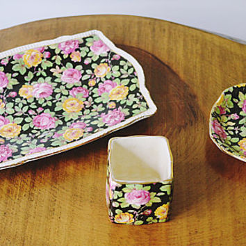 Clearance Royal Winton Beeston, Small Plates And Cup, 3 Piece Chintz Collection, Trinket Dishes