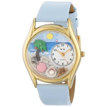SheilaShrubs.com: Women's Palm Tree Baby Blue Leather Watch C-1210010 by Whimsical Watches: Watches