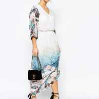 True Decadence Petite Border Print Maxi Dress