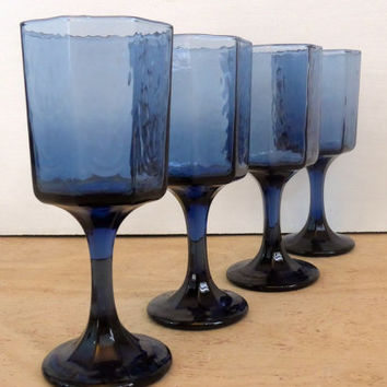 Vintage Set of 4 Libbey Blue Facets Wine Glasses - Textured Cobalt Blue Paneled Wine Goblets - Vintage Blue Faceted Wine Glasses