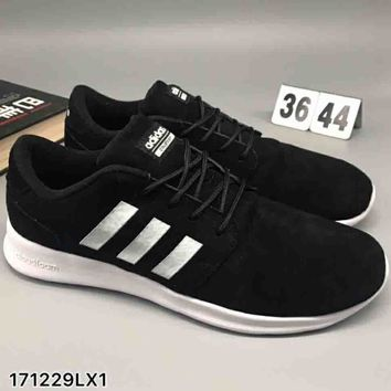 Adidas pig leather comfort shock absorbing sneakers F-CSXY black