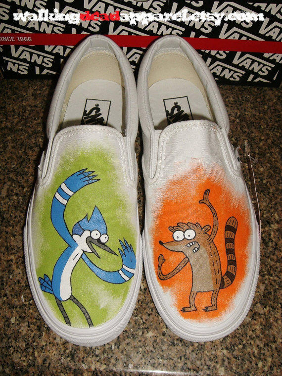 Handpainted Regular Show Mordecai Rigby Shoes (VANS)