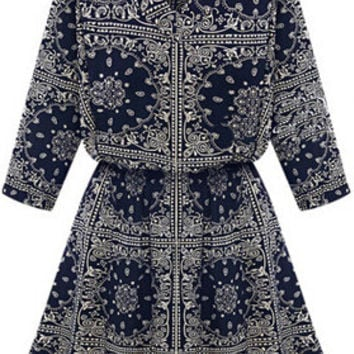 Navy V Neck Totem Print Half Sleeve Blouson Mini Skater Dress