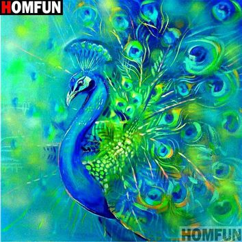5D Diamond Painting Green and Blue Peacock Tail Kit