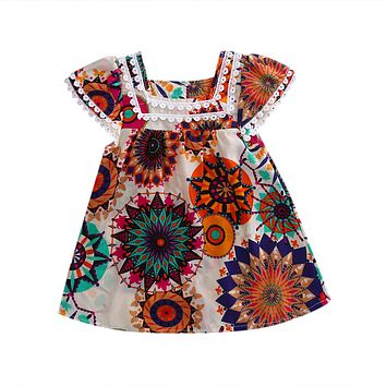 Kids Girls Floral Short Sleeve Dress Lace edge Princess Party Pageant Dresses