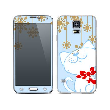 The Happy Winter Cartoon Cat Skin For the Samsung Galaxy S5