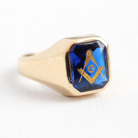 Vintage Masonic Ring - 10k Rosy Yellow Gold Created Blue Spinel Statement - 1940s Size 8 3/4 Freemason Mason Simulated Sapphire Fine Jewelry