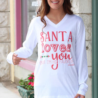 Santa <3's You, But I'm His Favorite Long Sleeve V-neck Tee {White}