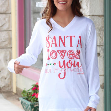 Santa m His Favorite Long Sleeve V-neck Tee {White}